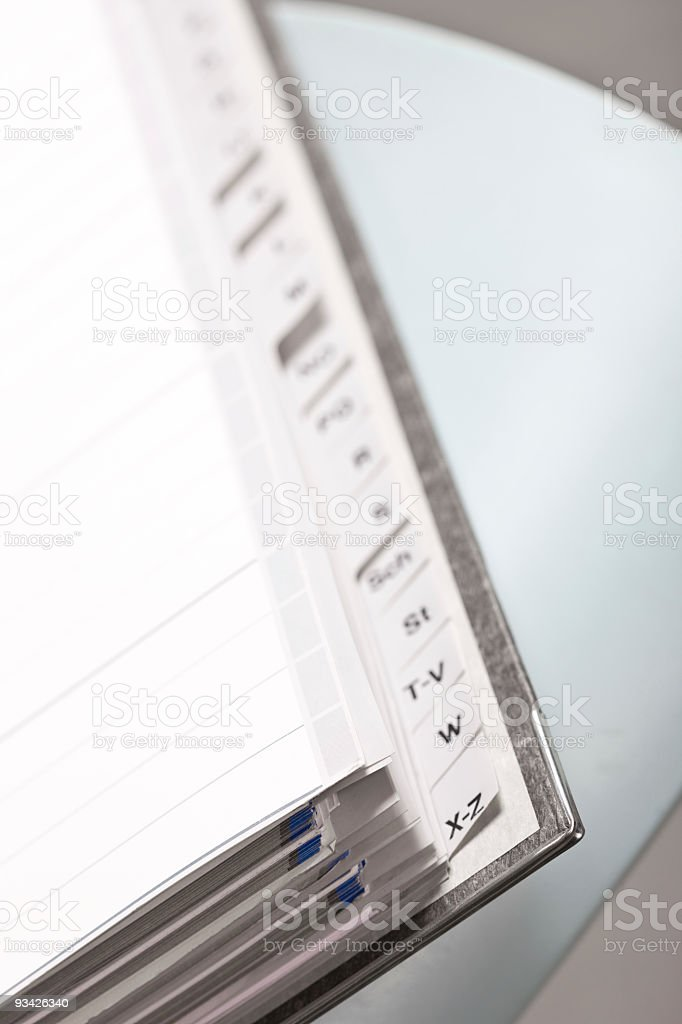 alphabetical index royalty-free stock photo