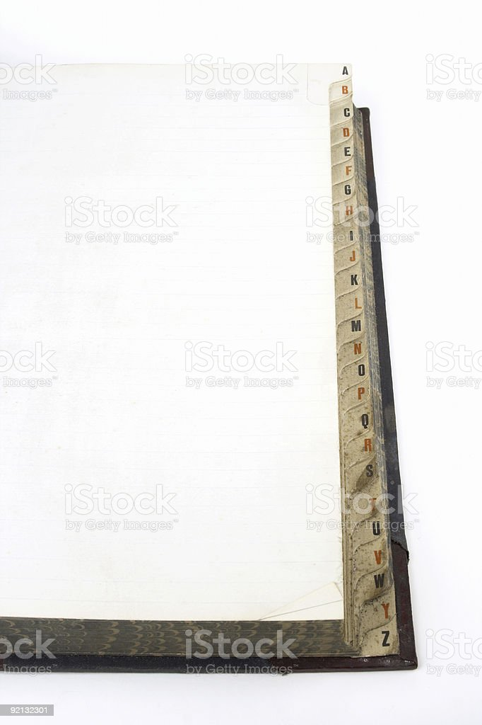 Alphabetical Ledger stock photo