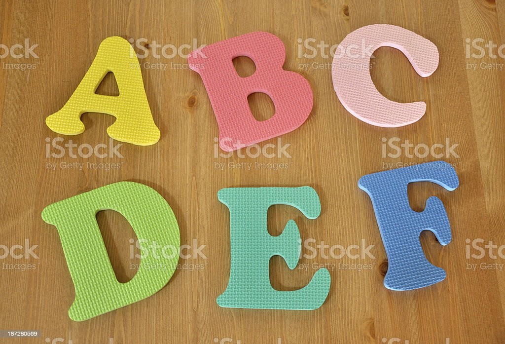 Alphabets A to F stock photo