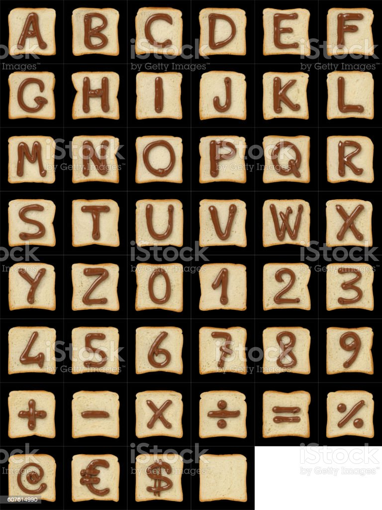 Alphanumeric symbols drawn with Nutella on bread slices on black stock photo