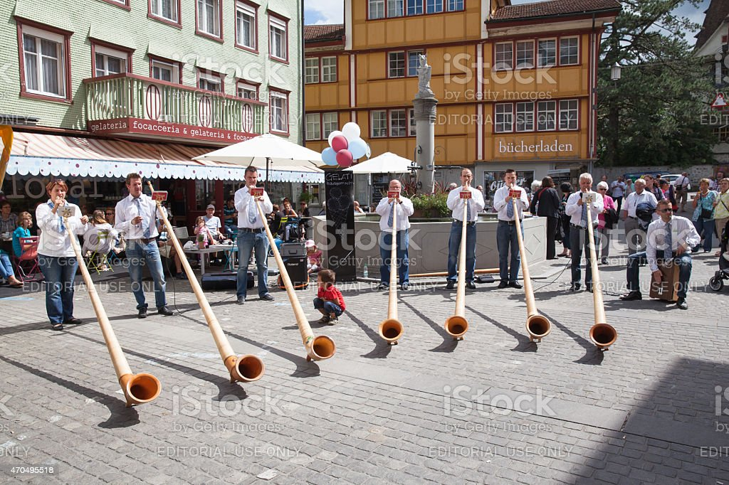 Alphorn Performance in Appenzell stock photo