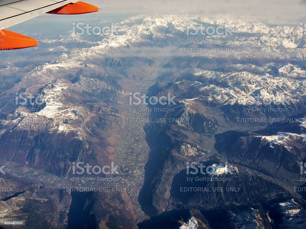 Alpi svizzere - Martigny e Valle del Rodano stock photo
