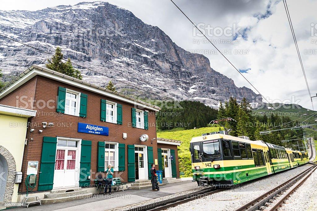 Alpiglen station, Eiger North face, Switzerland stock photo