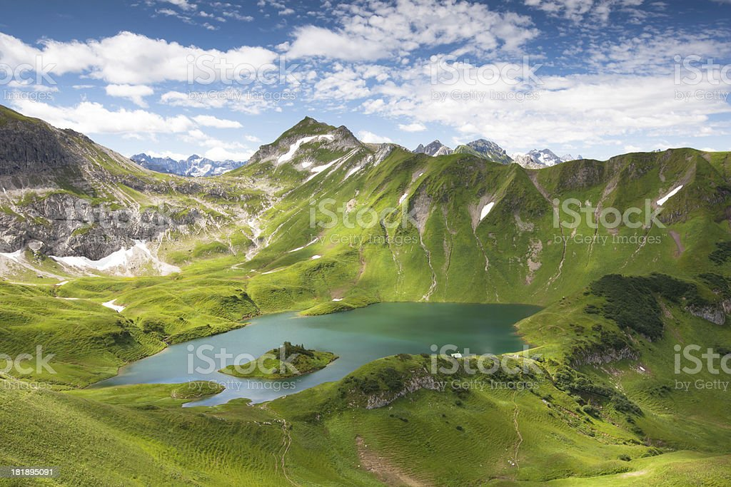 alpin lake schreeksee in bavaria, allgau alps, germany stock photo