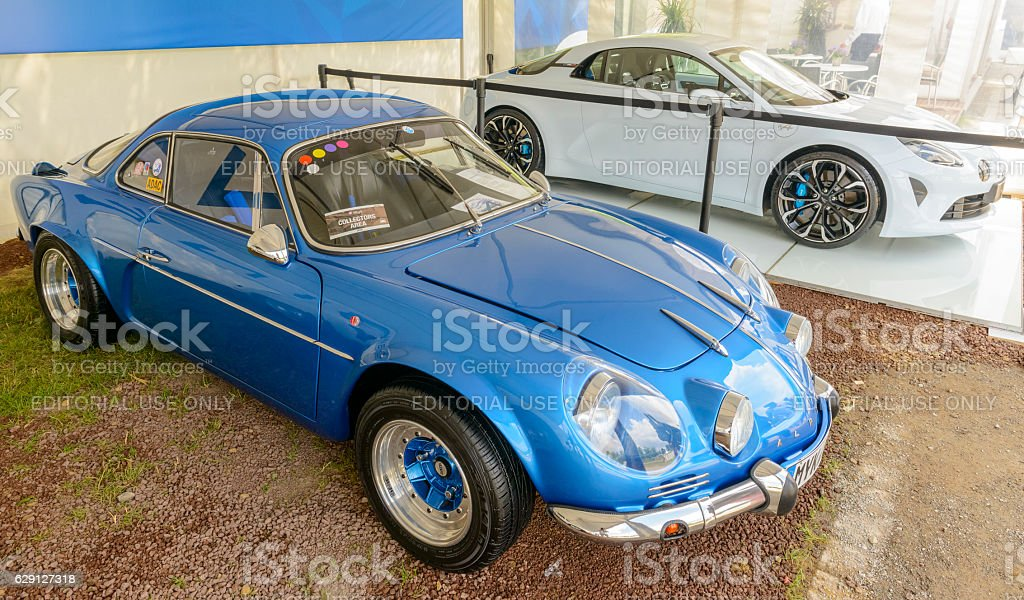 Alpine A110 and Alpine Vision Renault 2017 sports car stock photo