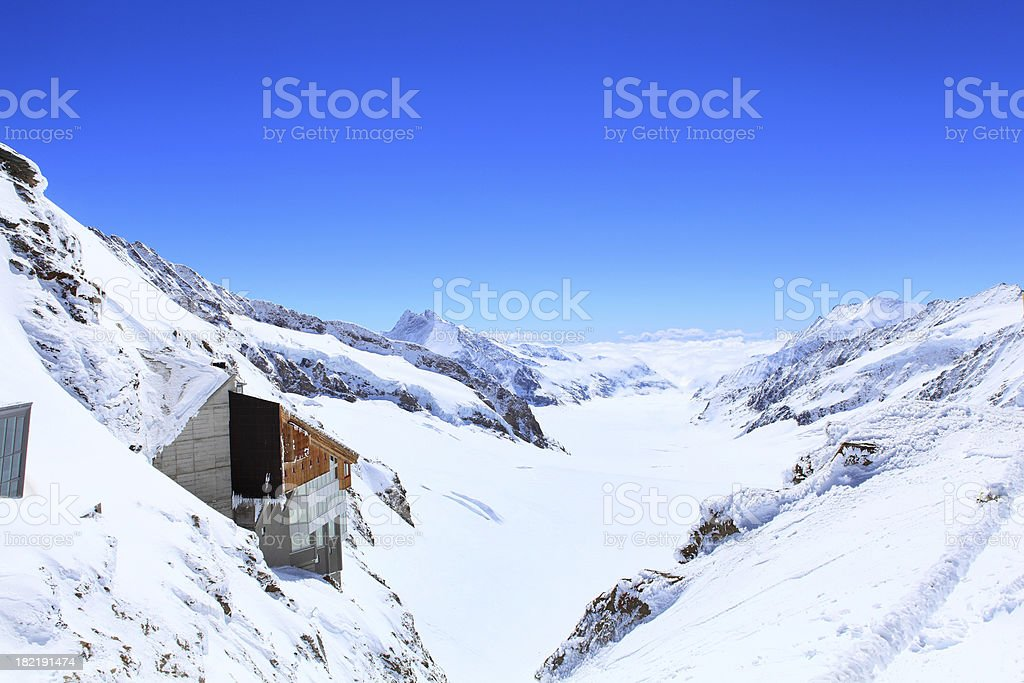 Alpine Alps mountain landscape at Jungfraujoch royalty-free stock photo