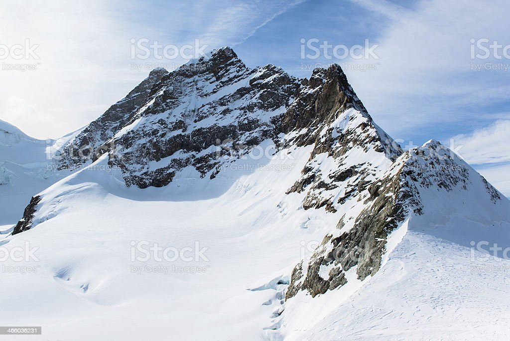 Alpine Alps mountain landscape at Jungfraujoch, Top of Europe Switzerland stock photo