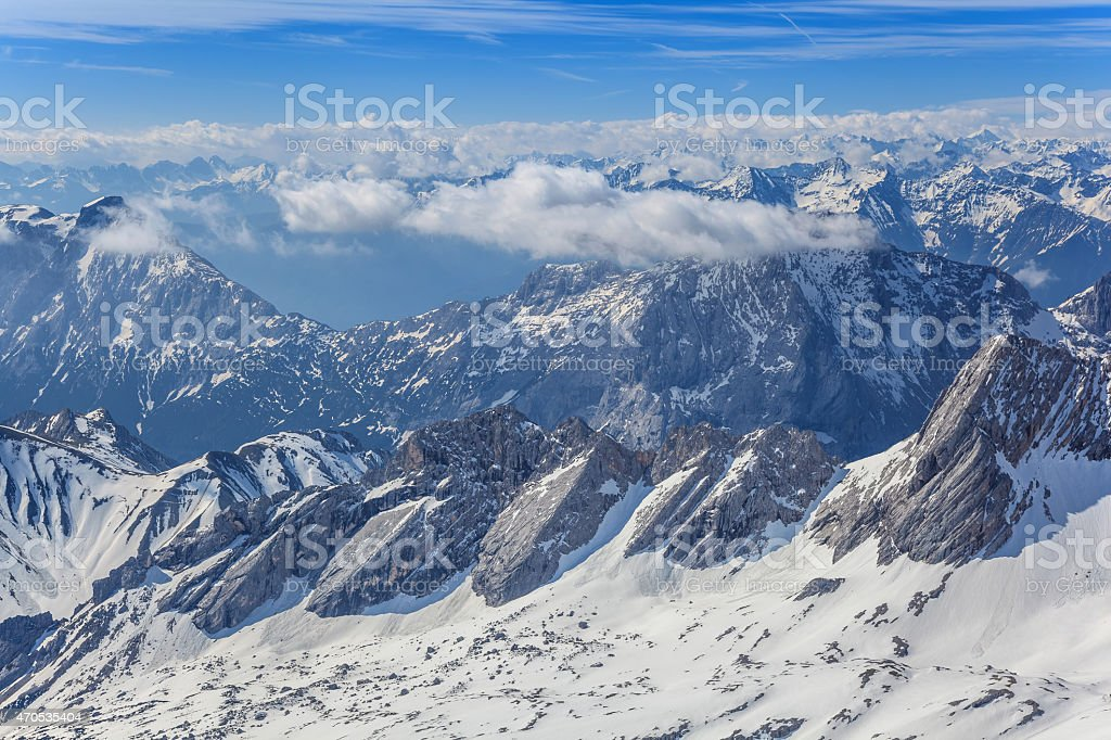 Alpine Alps mountain view from Zugspitze top of Germany stock photo