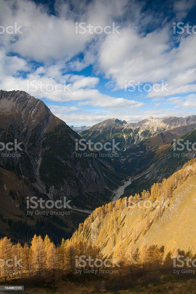 alpine autumn in the lechvalley, tirol, austria stock photo