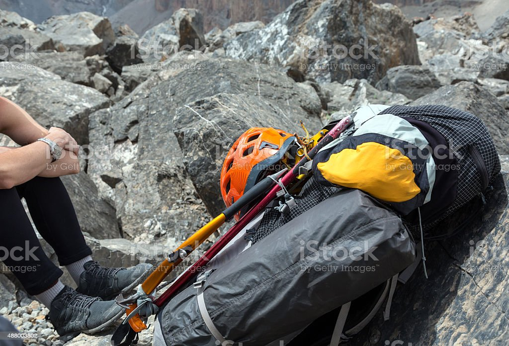 Alpine Backpack with Climbing Gear Attached stock photo