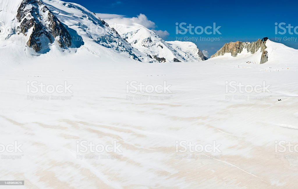 Alpine base camp Mont Blanc stock photo