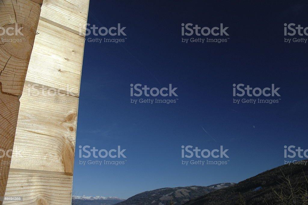 Alpine Block House Detail stock photo