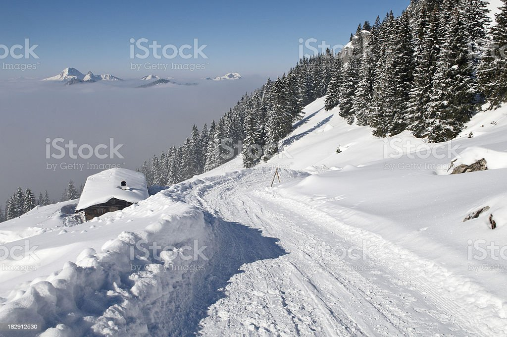 Alpine Cabin from above royalty-free stock photo