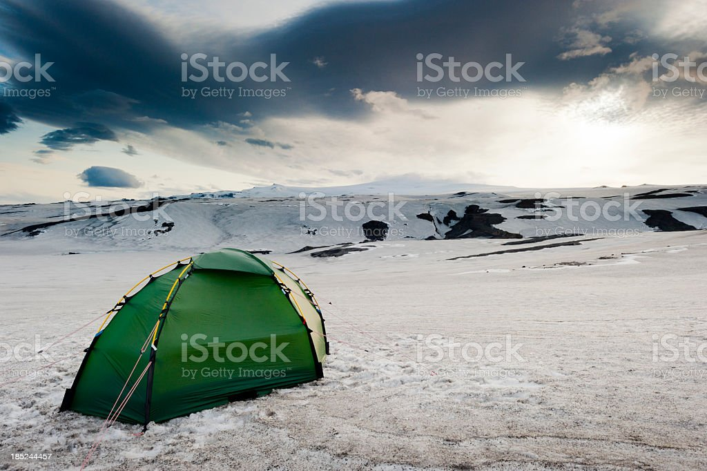 alpine camp stock photo