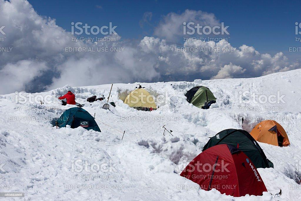 Alpine camp stock photo