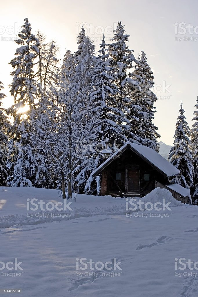 Alpine chalet in the snow stock photo