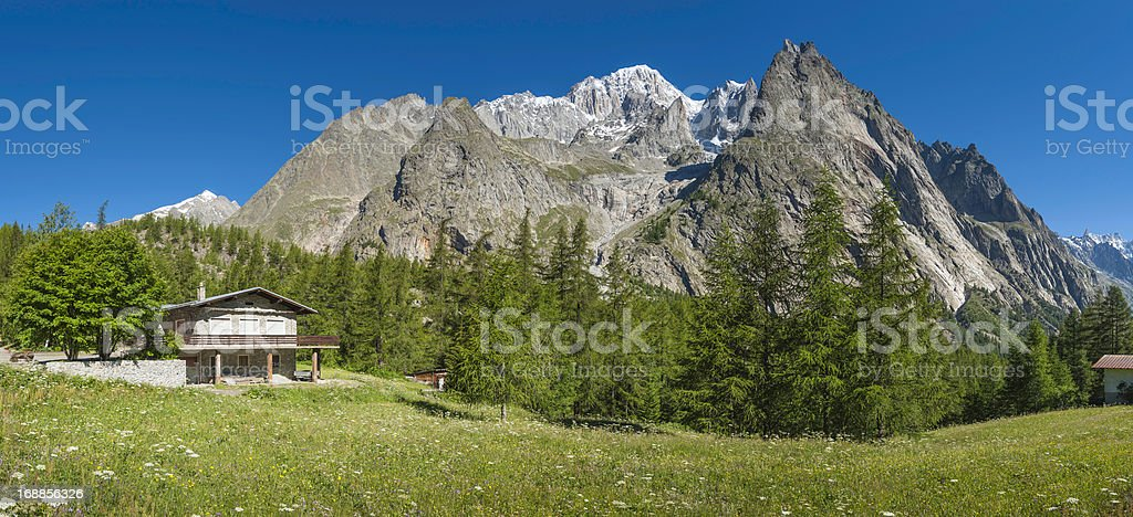 Alpine chalet in wildflower meadow under mountain peaks panorama royalty-free stock photo