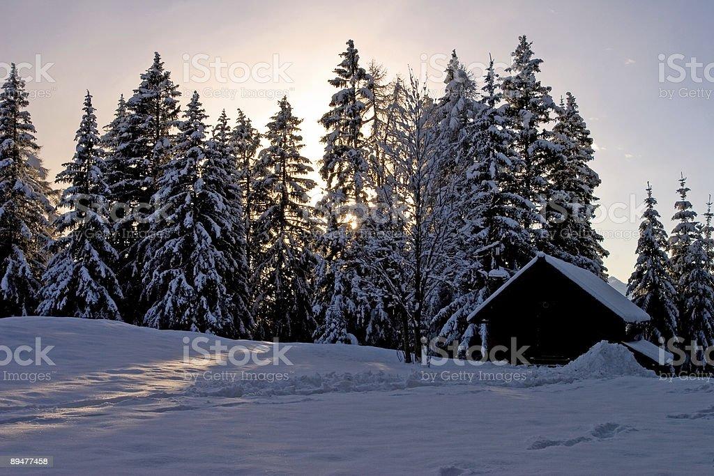 Alpine chalet stock photo