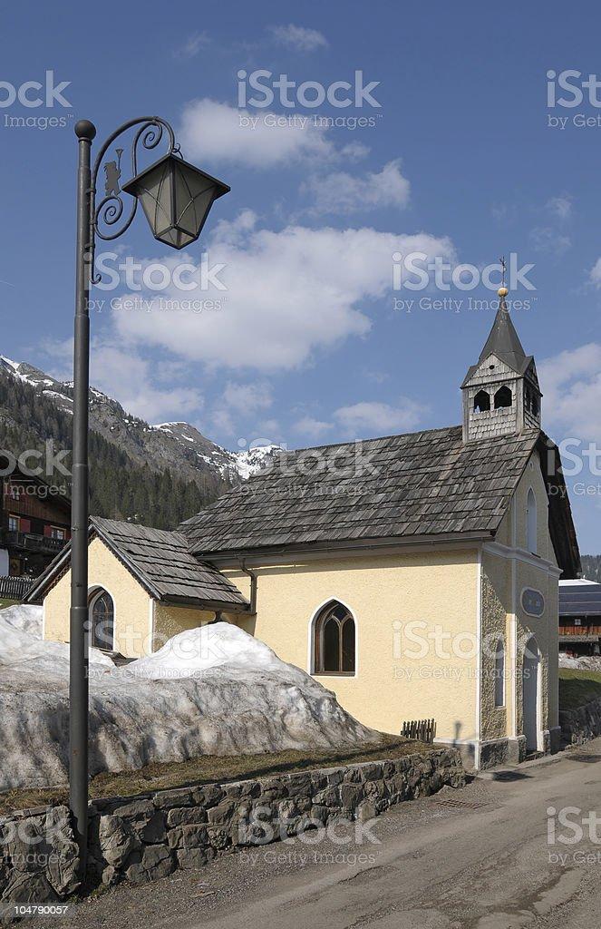 Alpine chapel stock photo