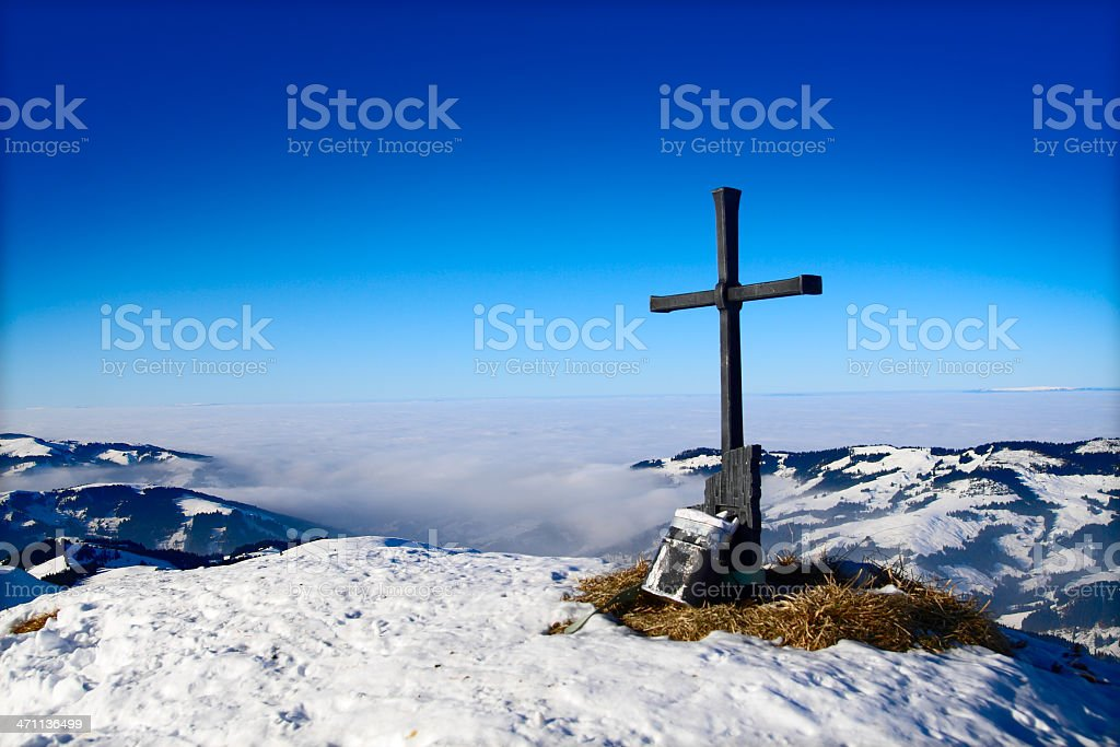 Alpine Cross on Mountain Peak royalty-free stock photo