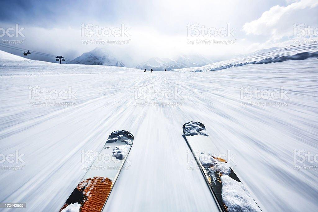 Alpine downhill skiing stock photo