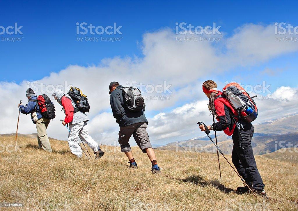 Alpine expedition going towards the peak Korab, Macedonia royalty-free stock photo