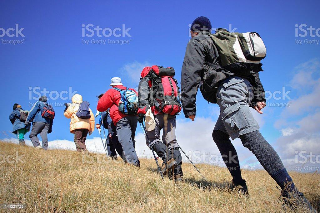 Alpine expedition going towards the peak Korab royalty-free stock photo