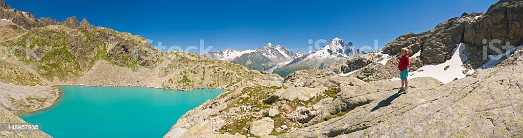 Alpine explorer summer trails blue skies royalty-free stock photo
