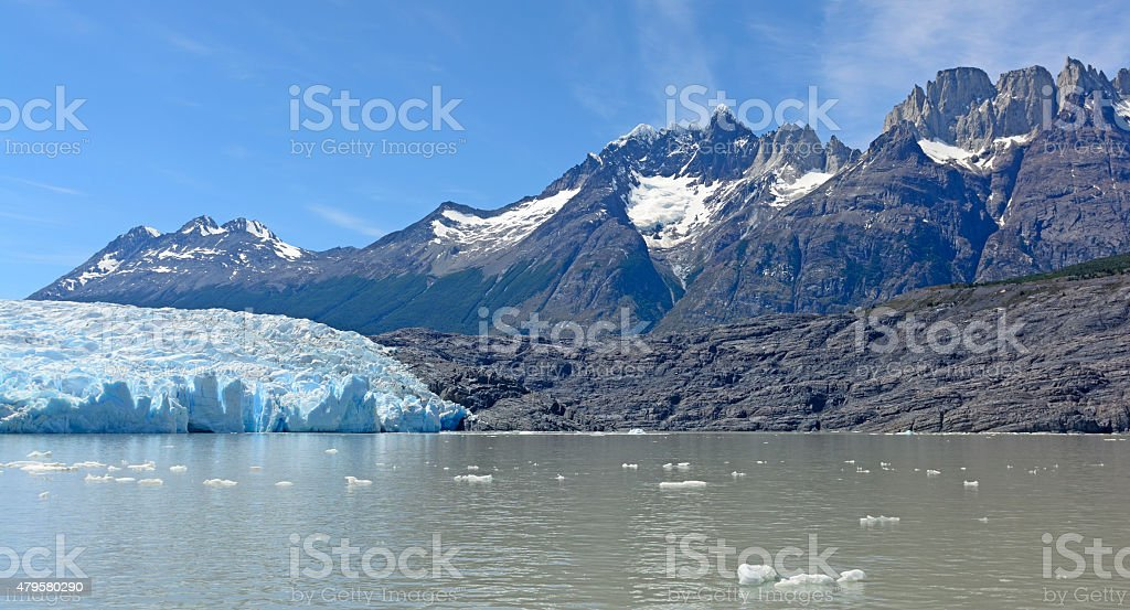 Alpine Glacier and its Surrounding Mountains stock photo