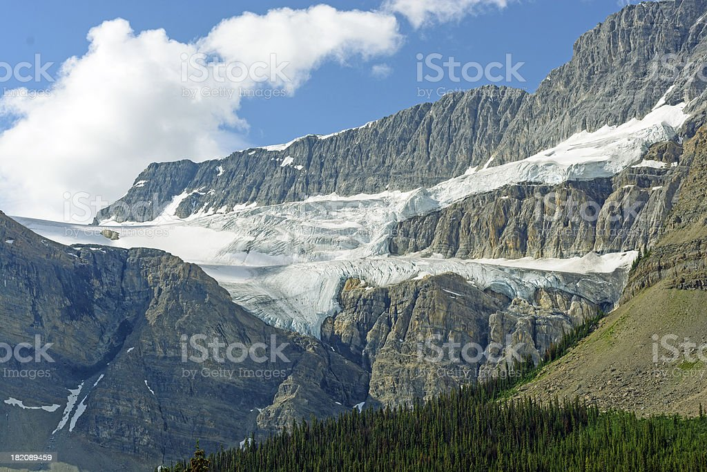 Alpine Glacier on Rocky Peaks stock photo