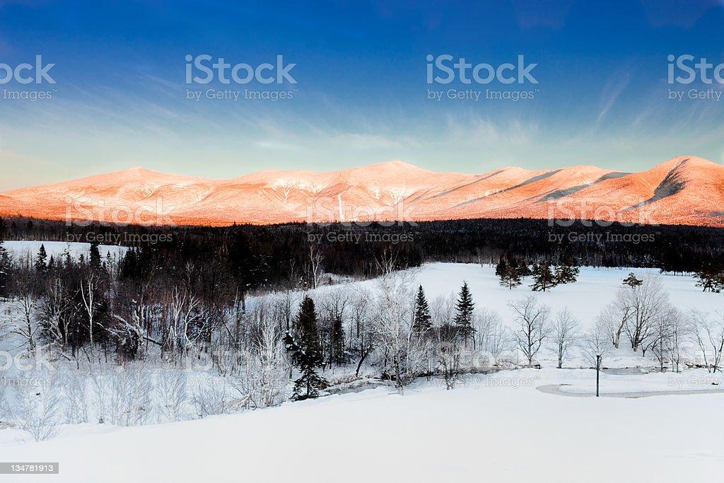 Alpine glow Mt washington stock photo