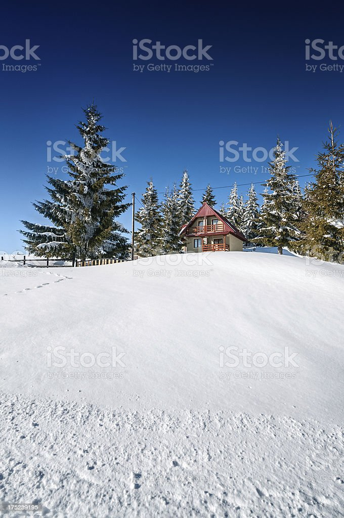 Alpine Hut Covered with Snow During Winter royalty-free stock photo