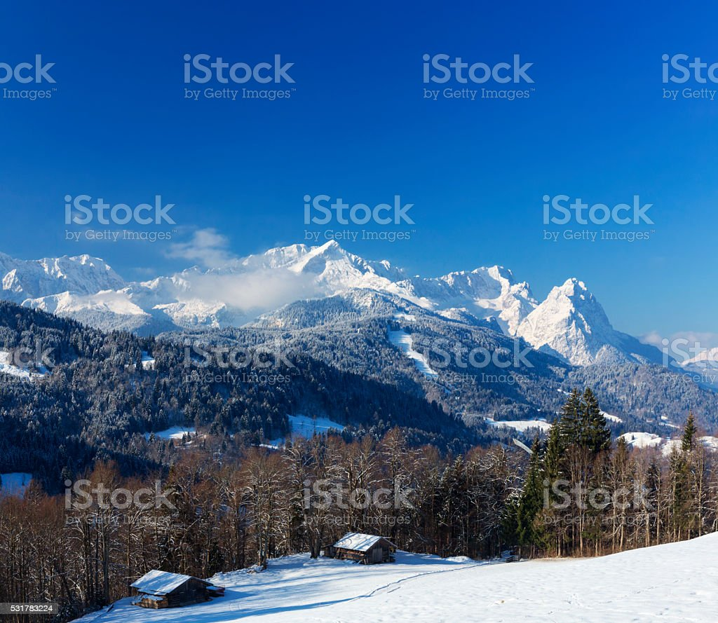 Alpine hut in Garmisch-Partenkirchen, Germany stock photo
