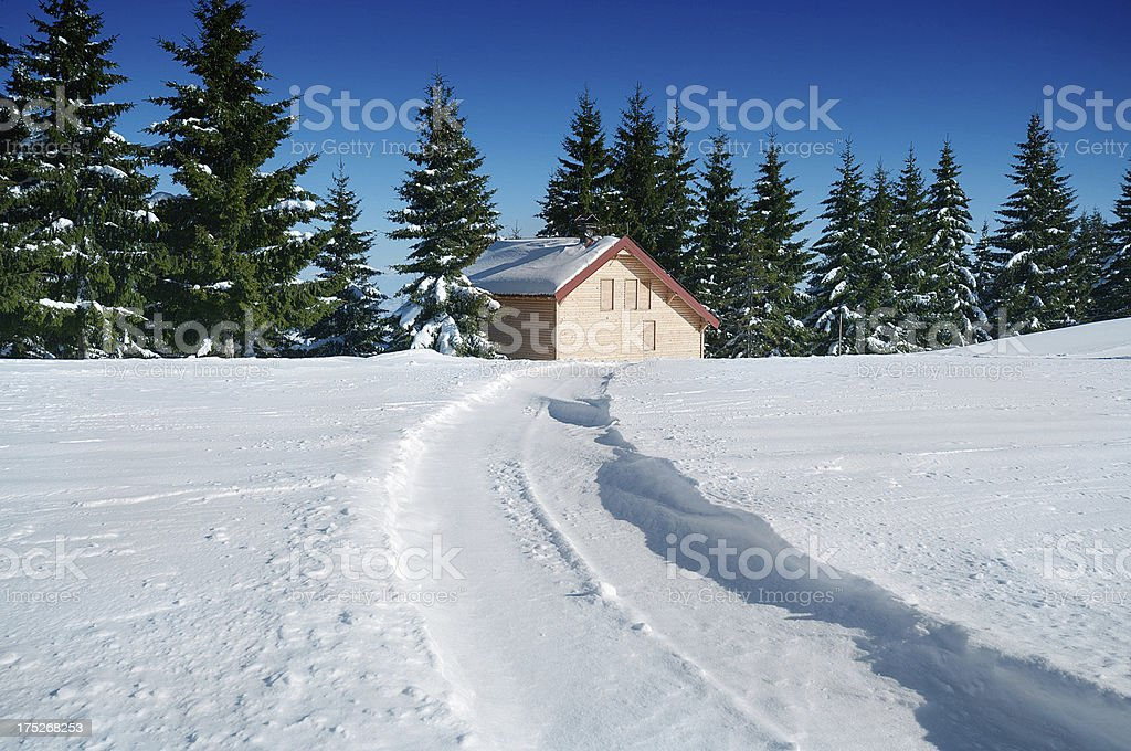 Alpine Hut in Snow During Winter royalty-free stock photo