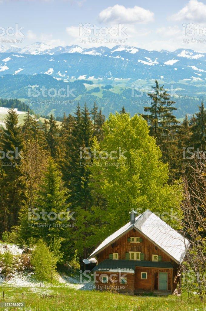 Alpine hut in the alps stock photo