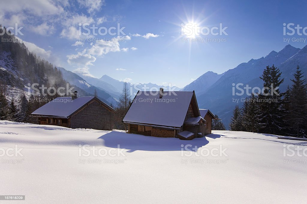 alpine hut in tirol, austria royalty-free stock photo