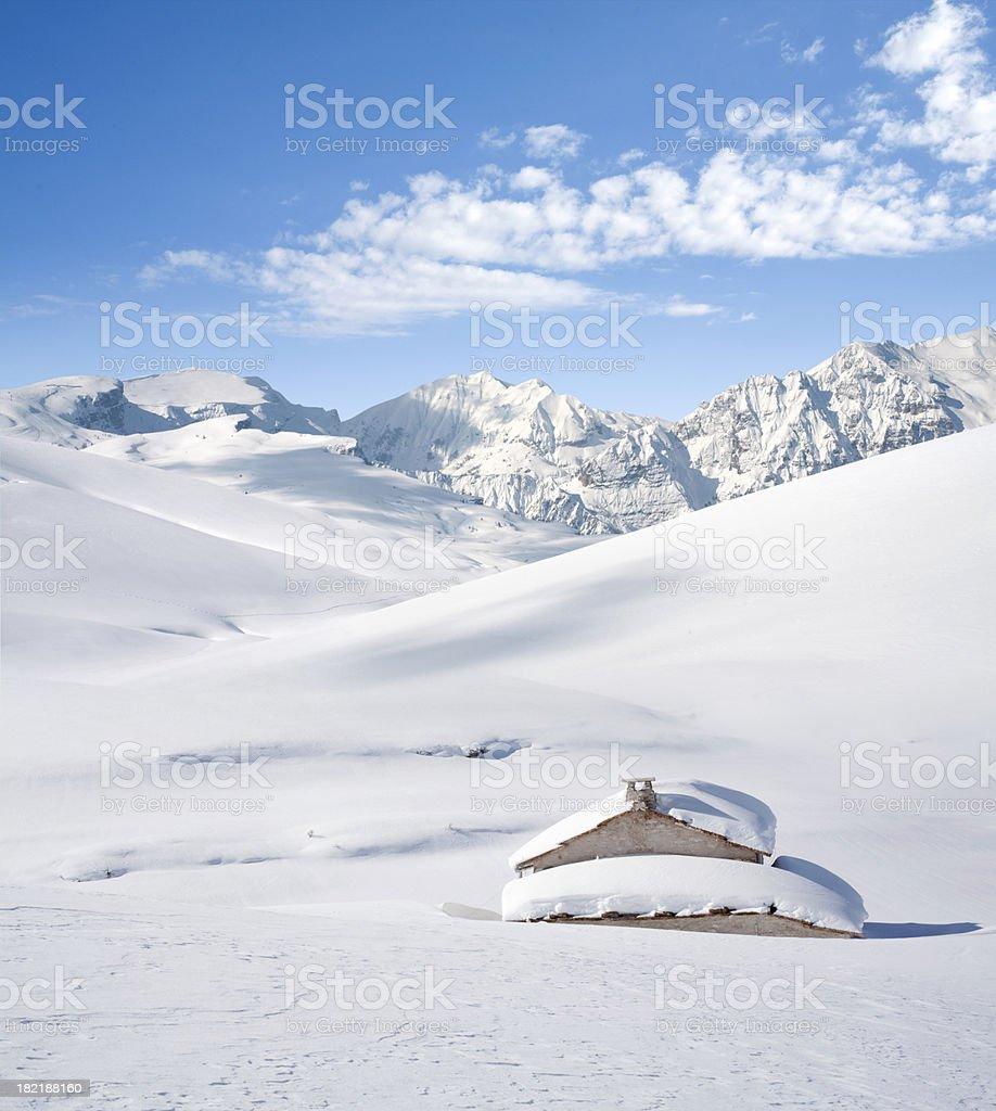 Alpine Hut in Winter royalty-free stock photo