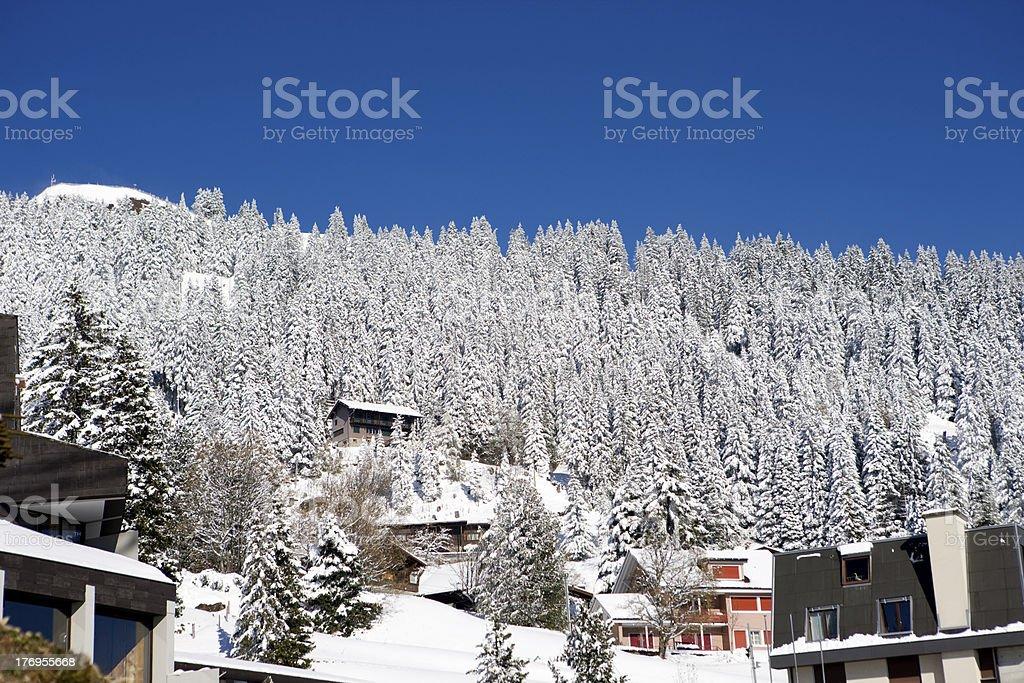 Alpine Hut. Snow covered Winter Scenery. royalty-free stock photo