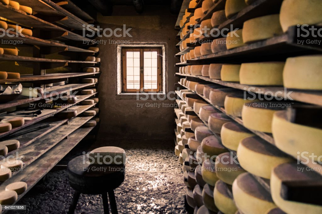 Alpine hut that produces  homemade cheeses. stock photo