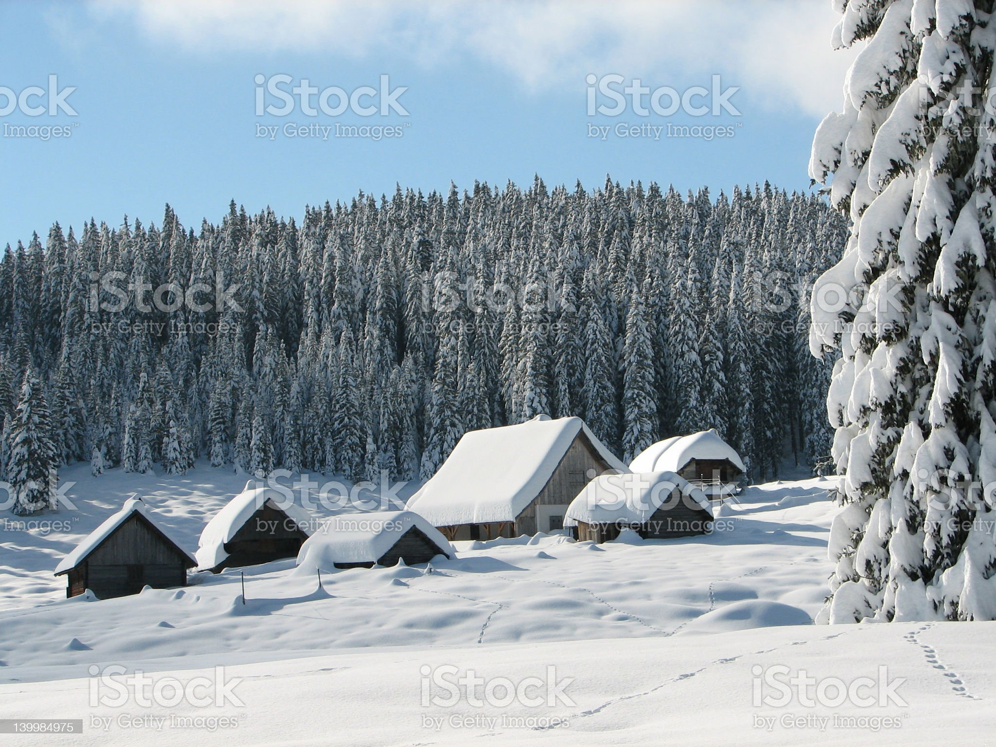 Alpine huts covered with snow royalty-free stock photo