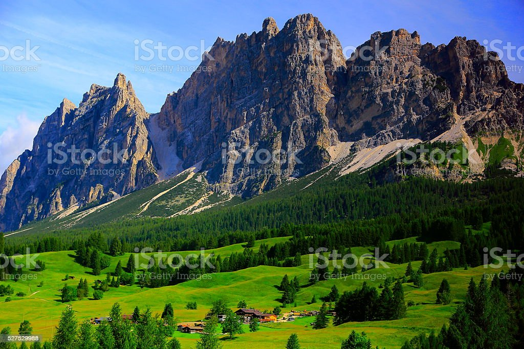 Alpine idyllic landscape, Cortina village chalets, Italian Tirol alps stock photo