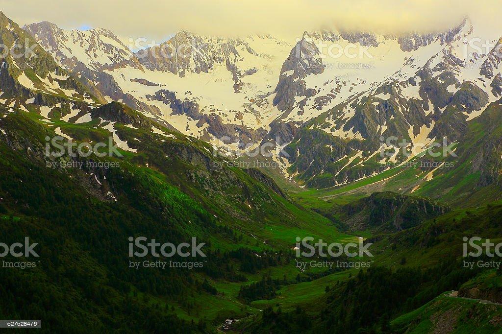 Alpine idyllic landscape sunset, Timmelsjoch, Italian Austrian Tirol alps stock photo
