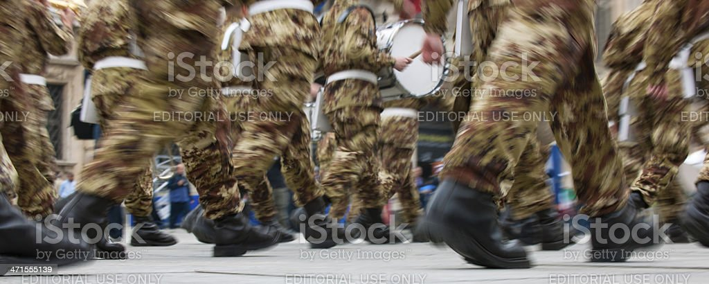 Alpine italian soldiers marching in a parade, national meeting royalty-free stock photo