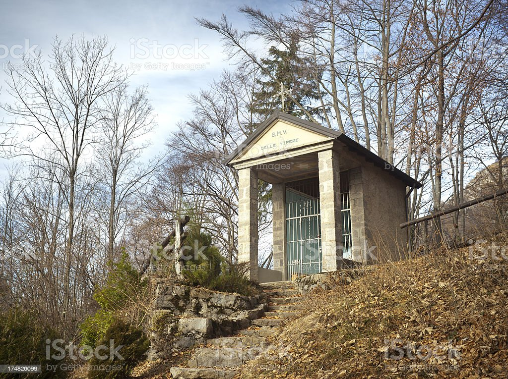 Alpine Lady Chapel, Bergamo Italy stock photo