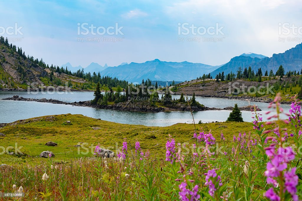 Alpine lake and mountains in sunshine meadows, Alberta stock photo