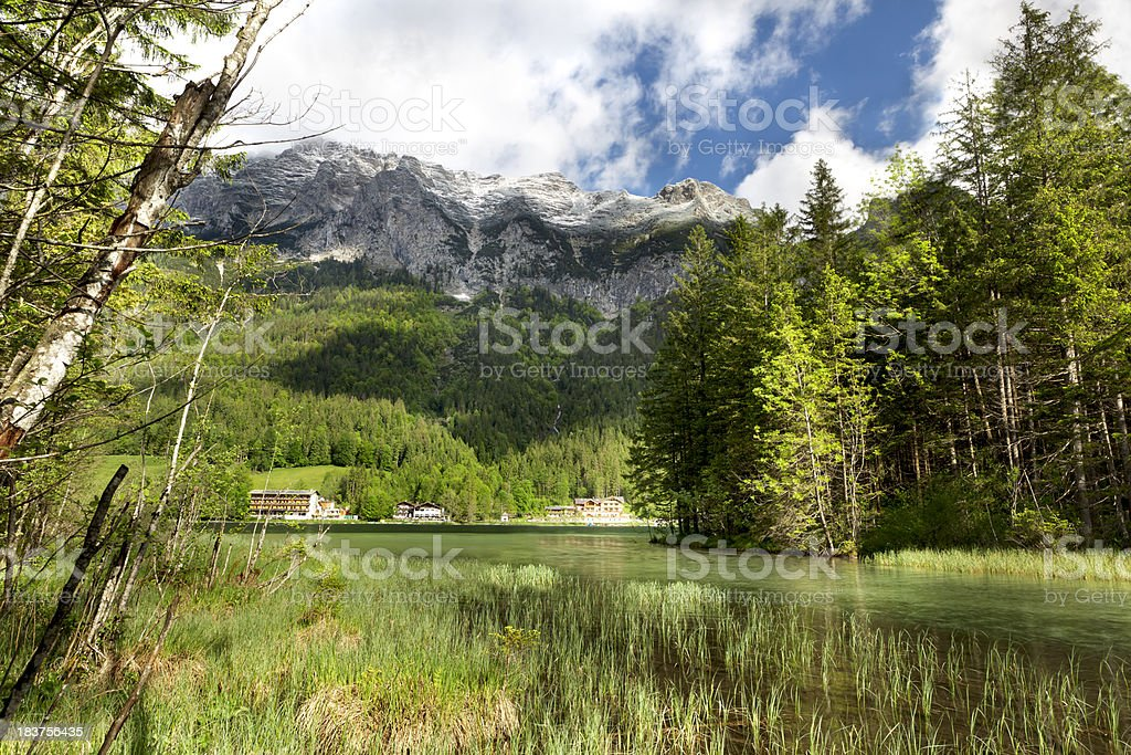 Alpine lake and mountains royalty-free stock photo