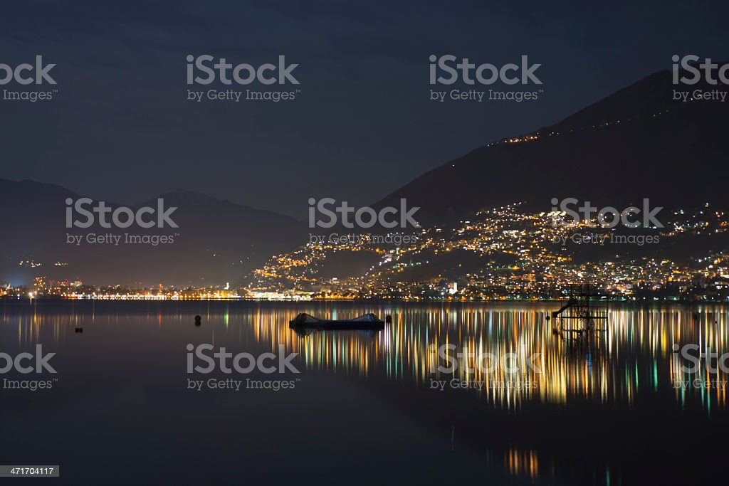 Alpine lake at night stock photo
