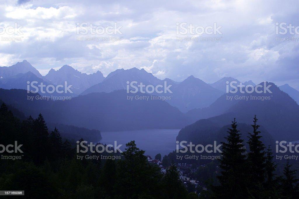 Alpine lake blue mood stock photo