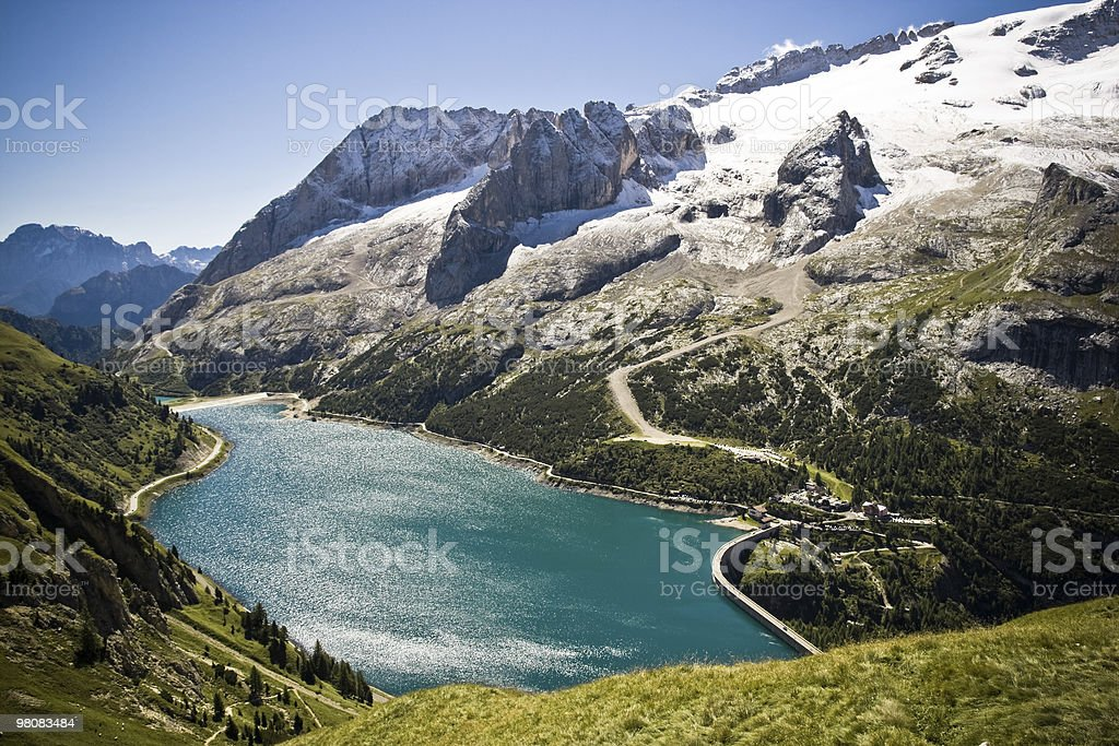 Alpine Lake, Dolomites, Italian Alps Vivid Colors stock photo