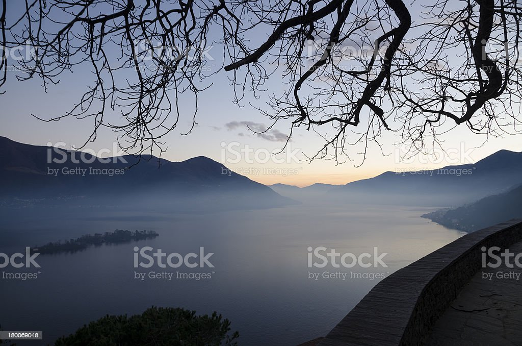 Alpine lake in blue hour royalty-free stock photo